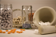 Mortar and pestle with compounding products